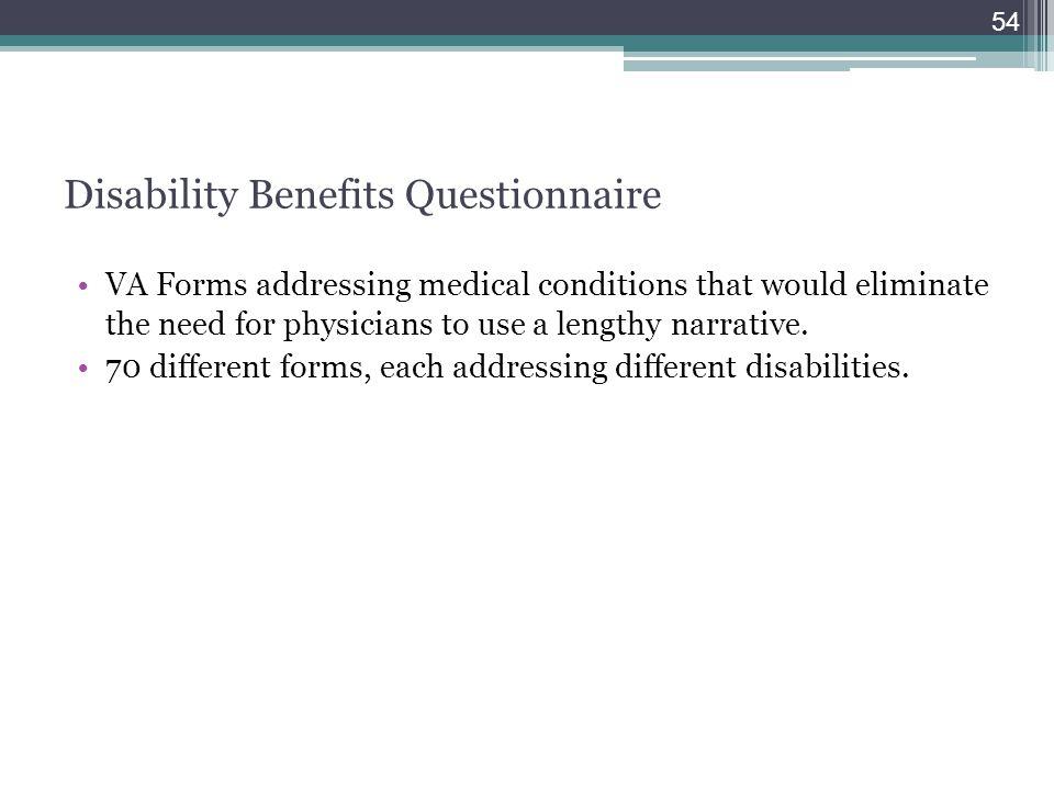 Disability Benefits Questionnaire
