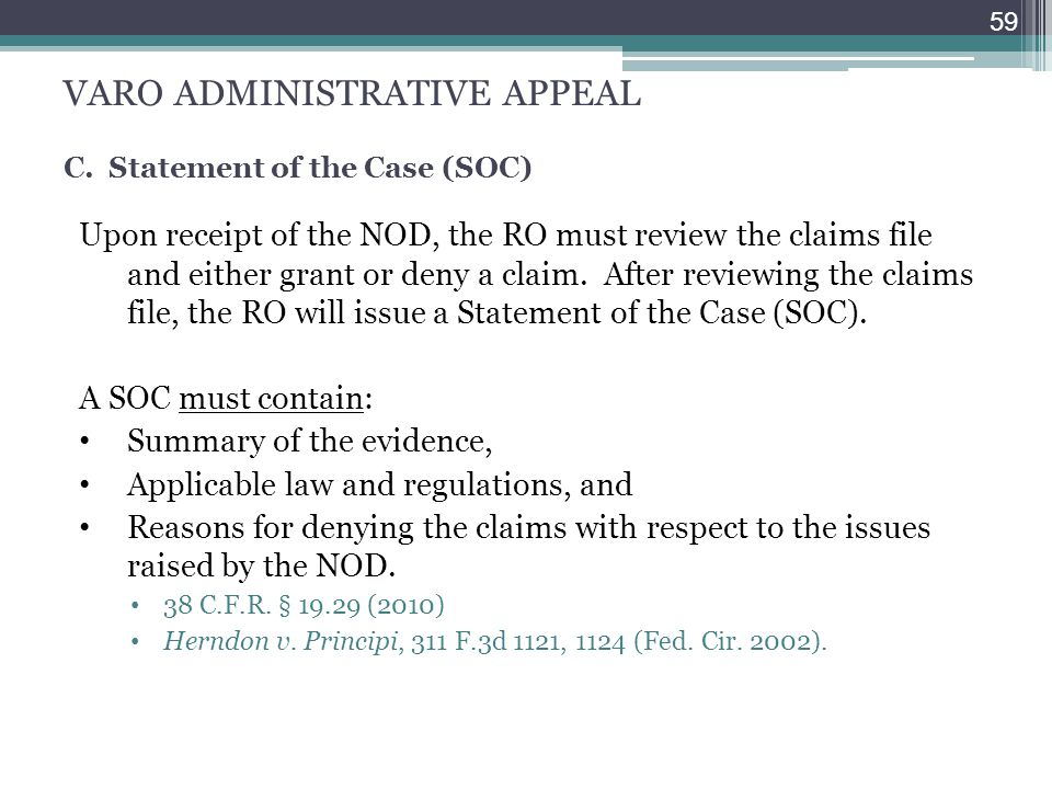 VARO ADMINISTRATIVE APPEAL C. Statement of the Case (SOC)