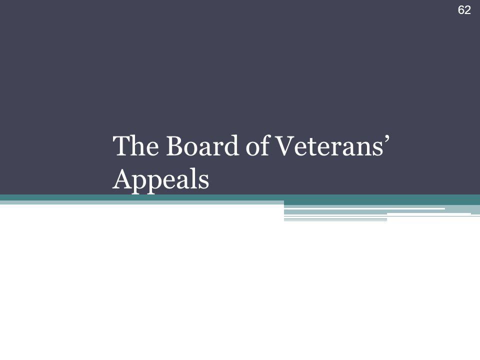 The Board of Veterans' Appeals
