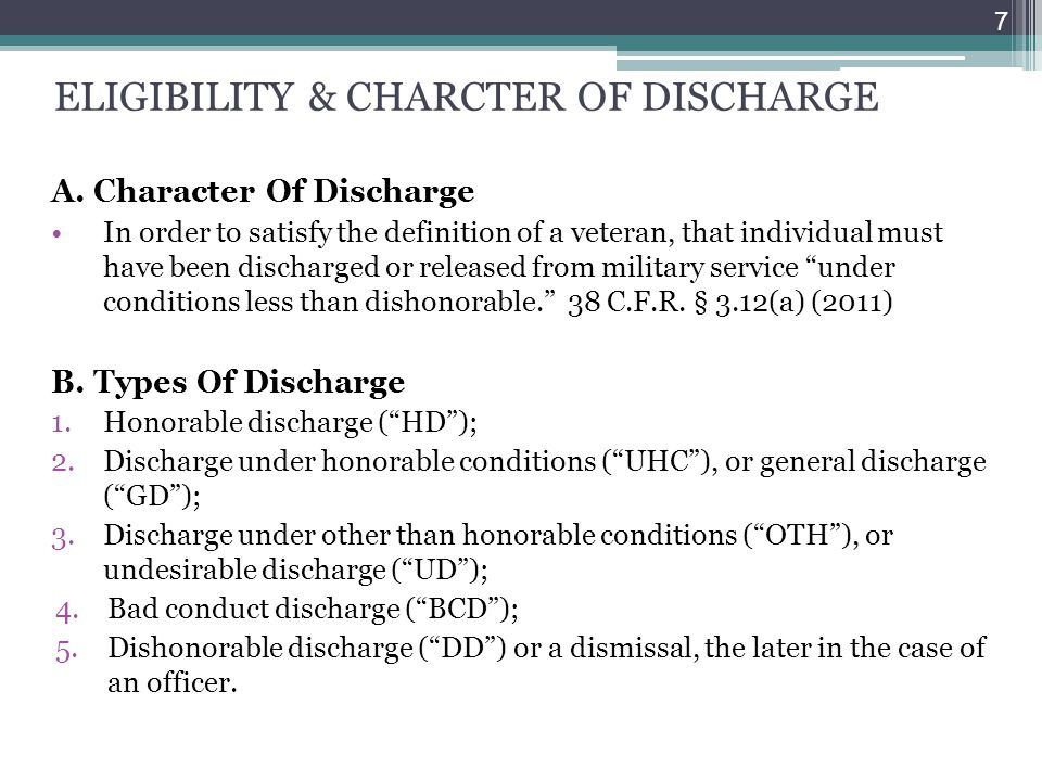 ELIGIBILITY & CHARCTER OF DISCHARGE