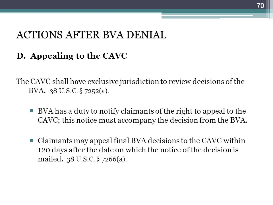 ACTIONS AFTER BVA DENIAL D. Appealing to the CAVC