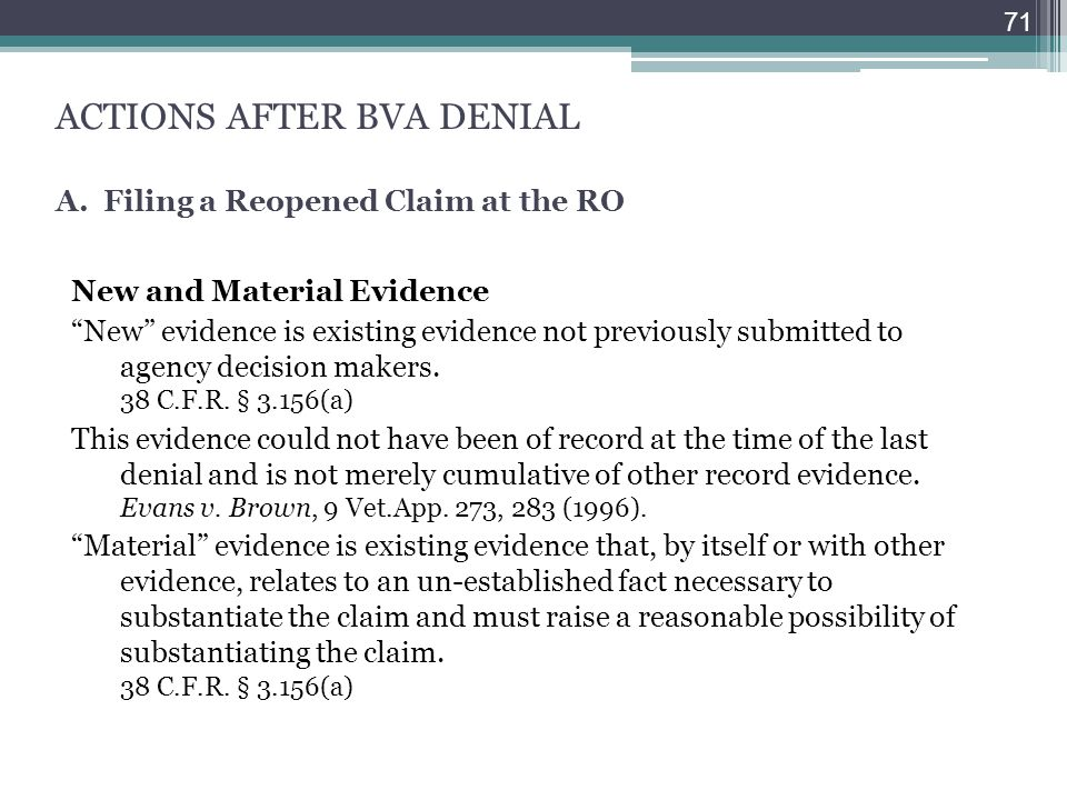 ACTIONS AFTER BVA DENIAL A. Filing a Reopened Claim at the RO