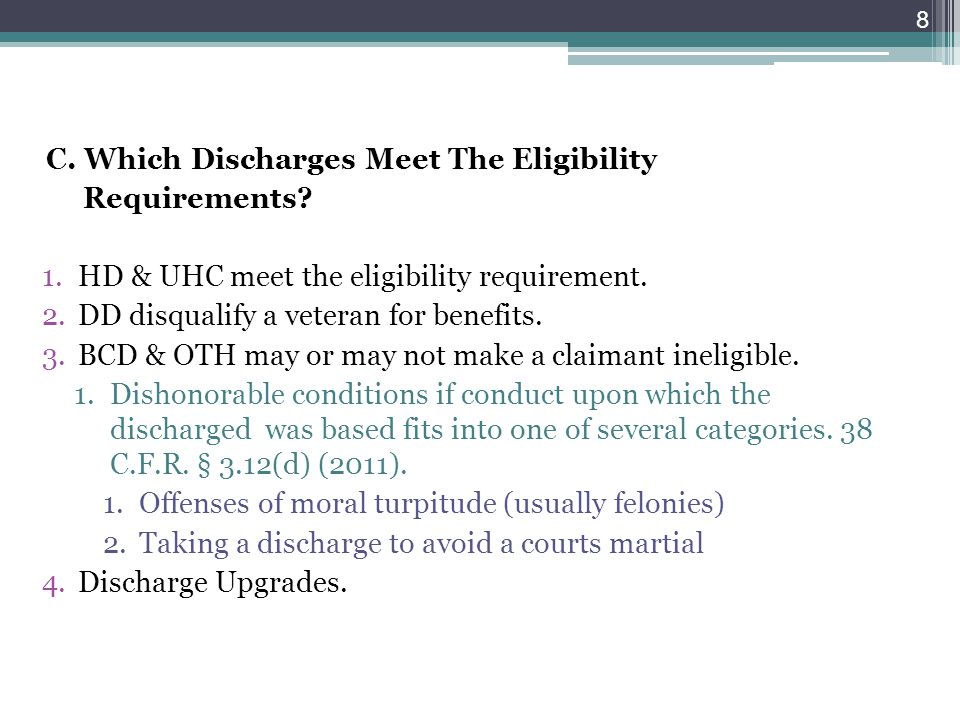 C. Which Discharges Meet The Eligibility Requirements