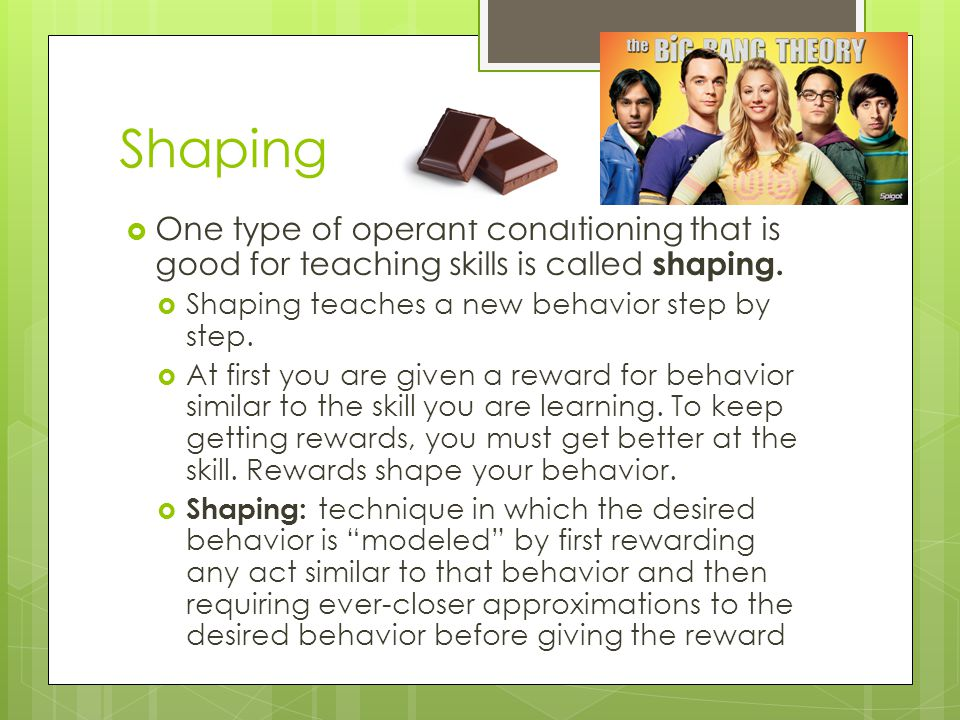 Shaping One type of operant conditioning that is good for teaching skills is called shaping. Shaping teaches a new behavior step by step.