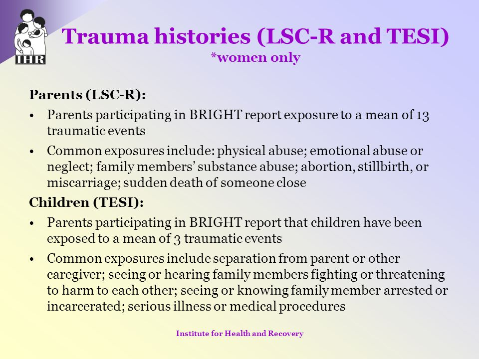 Trauma histories (LSC-R and TESI) *women only