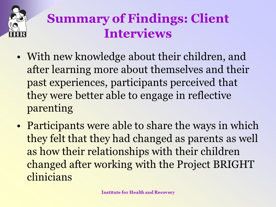 Summary of Findings: Client Interviews