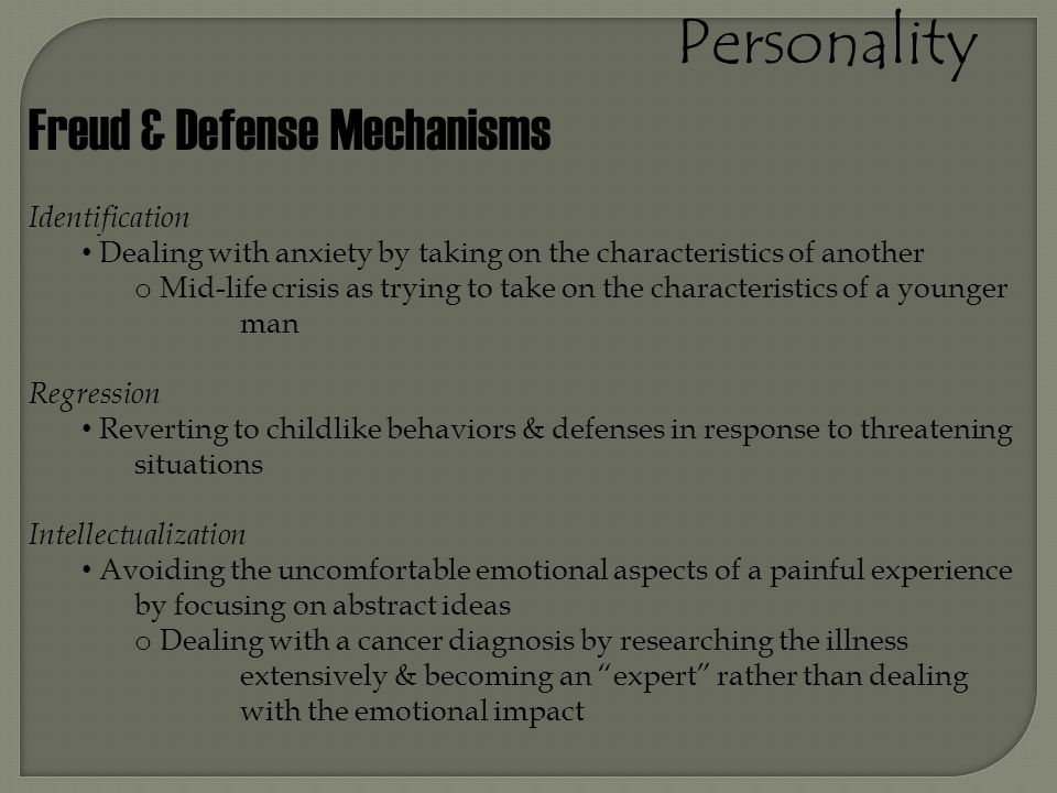 Personality Freud & Defense Mechanisms Identification