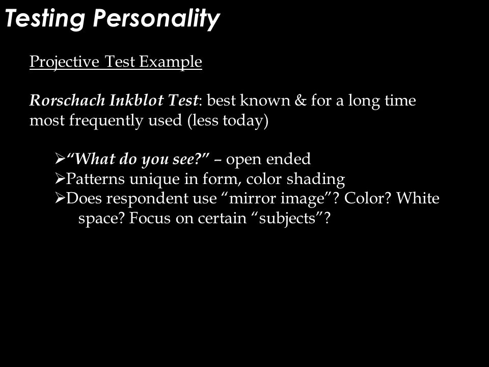 Testing Personality Projective Test Example