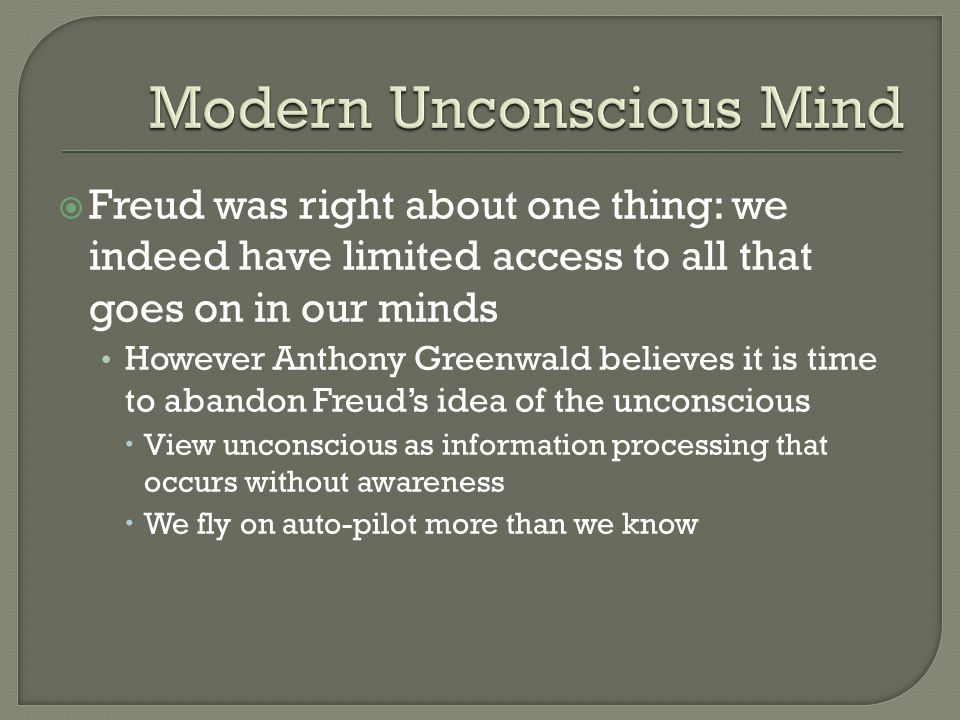 Modern Unconscious Mind