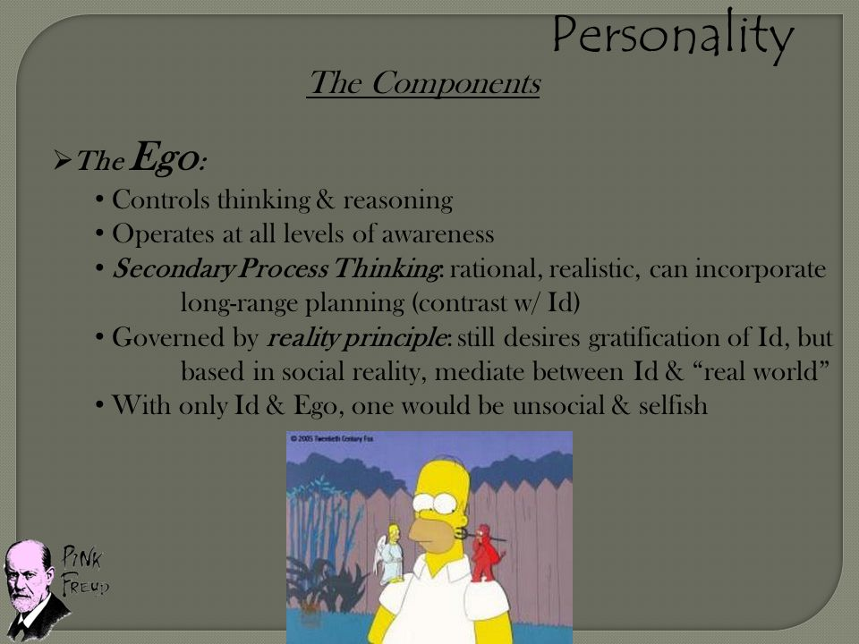 Personality The Components The Ego: Controls thinking & reasoning