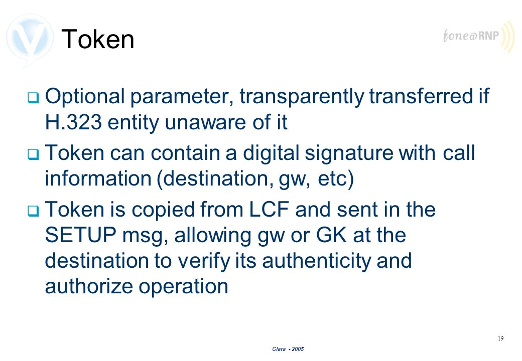 Token Optional parameter, transparently transferred if H.323 entity unaware of it.
