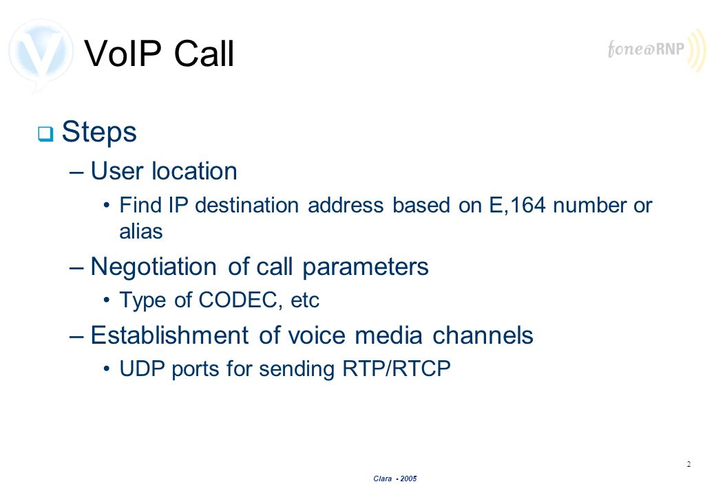 VoIP Call Steps User location Negotiation of call parameters