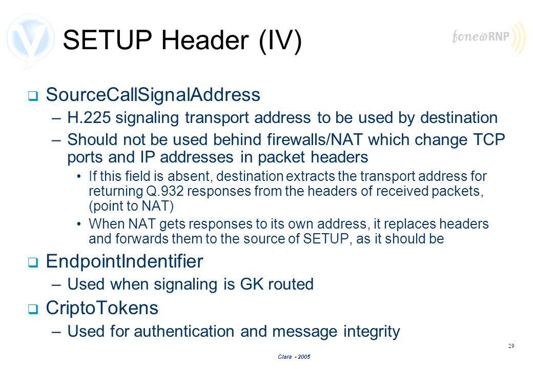 SETUP Header (IV) SourceCallSignalAddress EndpointIndentifier