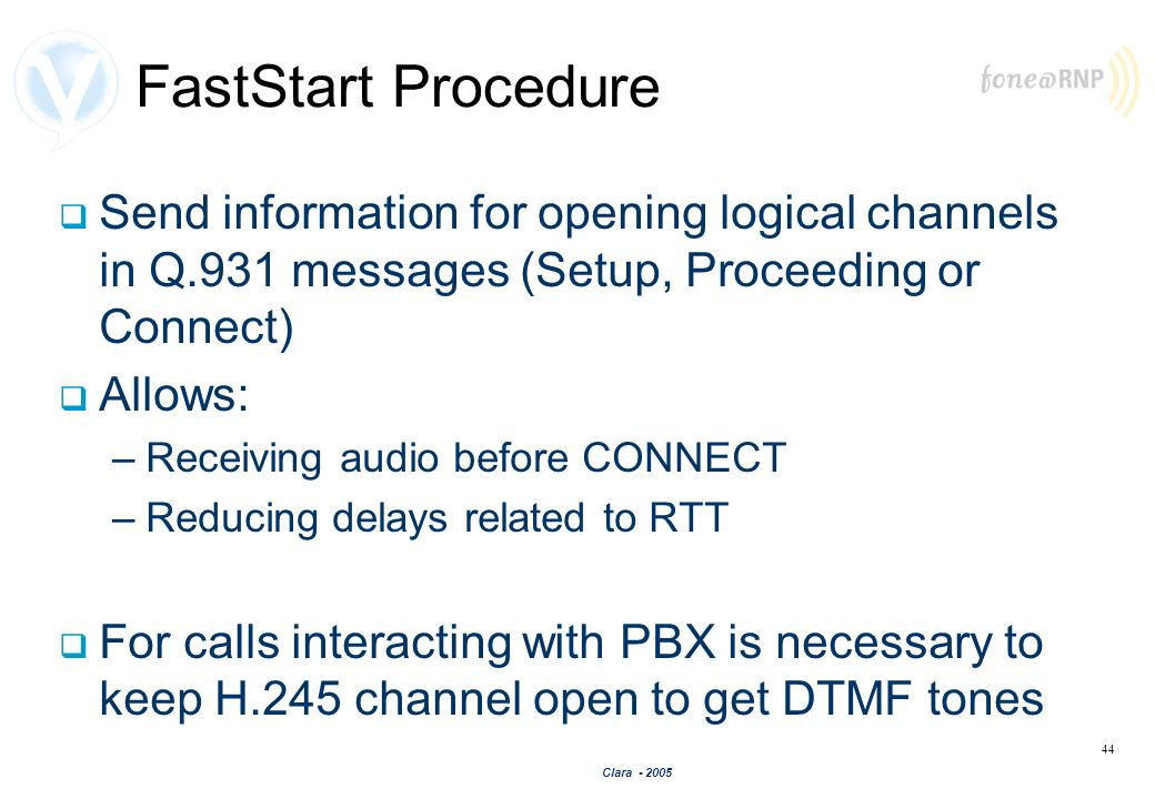 FastStart Procedure Send information for opening logical channels in Q.931 messages (Setup, Proceeding or Connect)