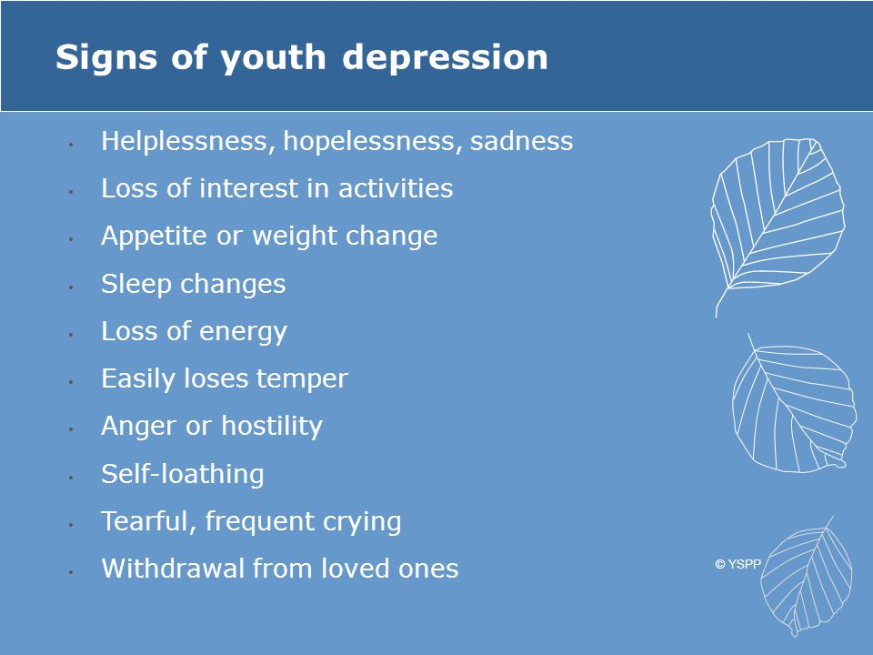 Signs of youth depression