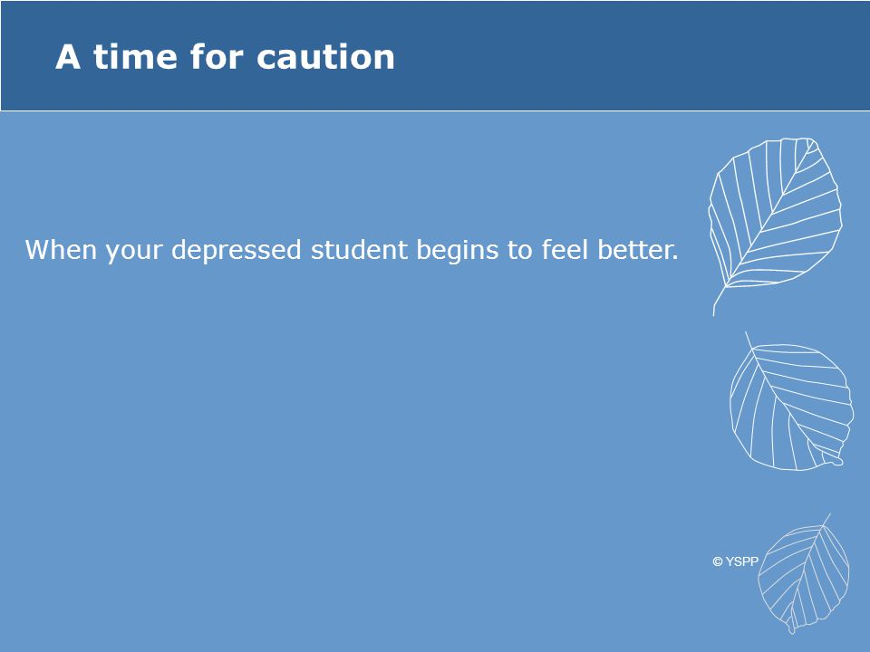 A time for caution When your depressed student begins to feel better.