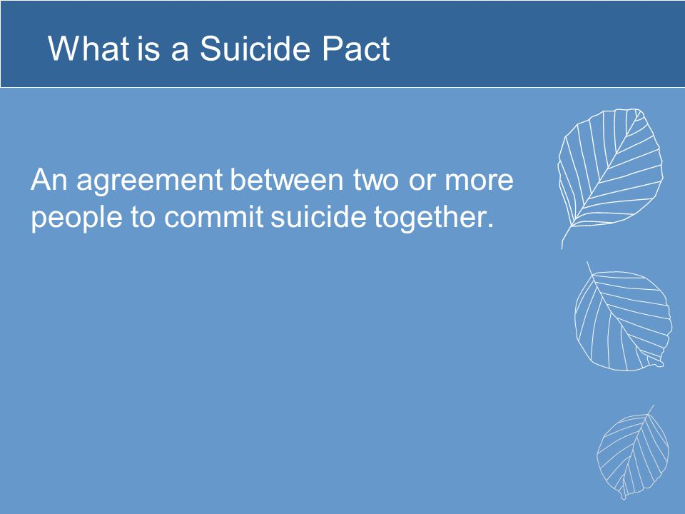 What is a Suicide Pact An agreement between two or more people to commit suicide together.
