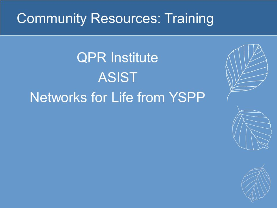 Community Resources: Training
