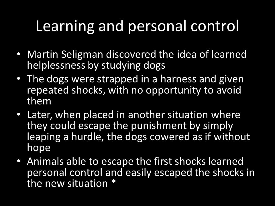 Learning and personal control