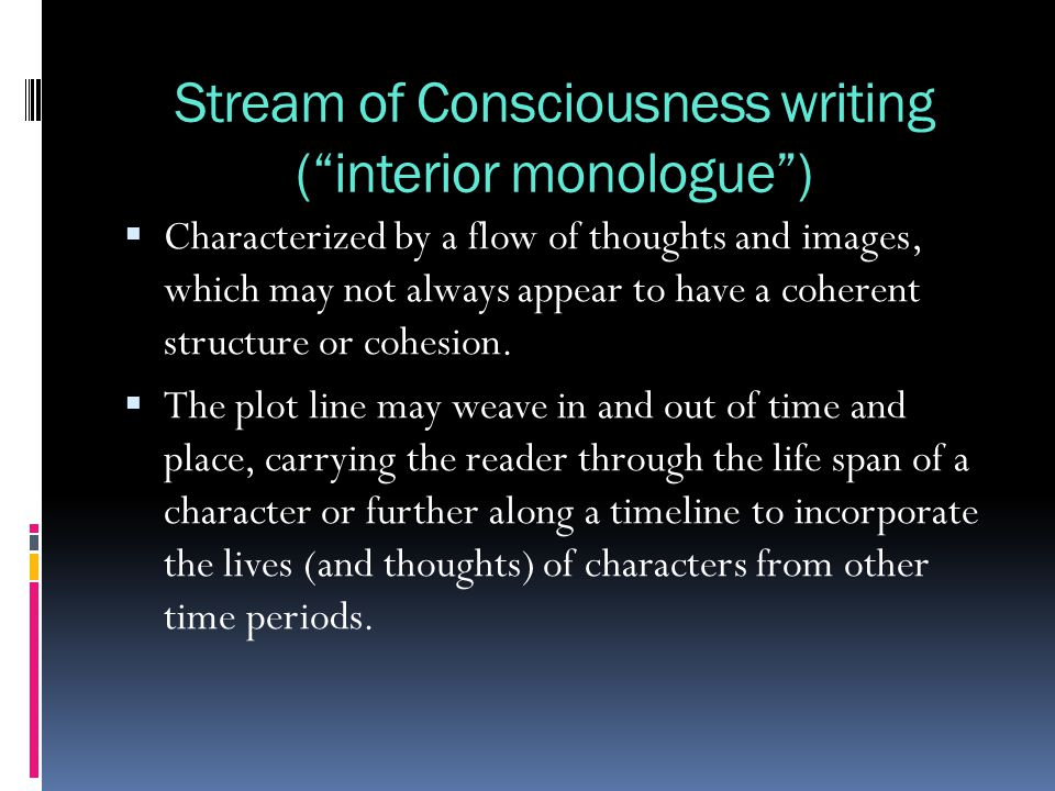 stream of consciousness writing activity Stream of consciousness writing prompts feel free to post a few lines from your stream of writing if you come up with something recent activity what's new.