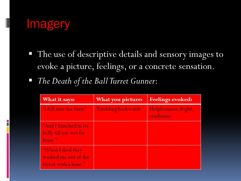 Imagery The use of descriptive details and sensory images to evoke a picture, feelings, or a concrete sensation.