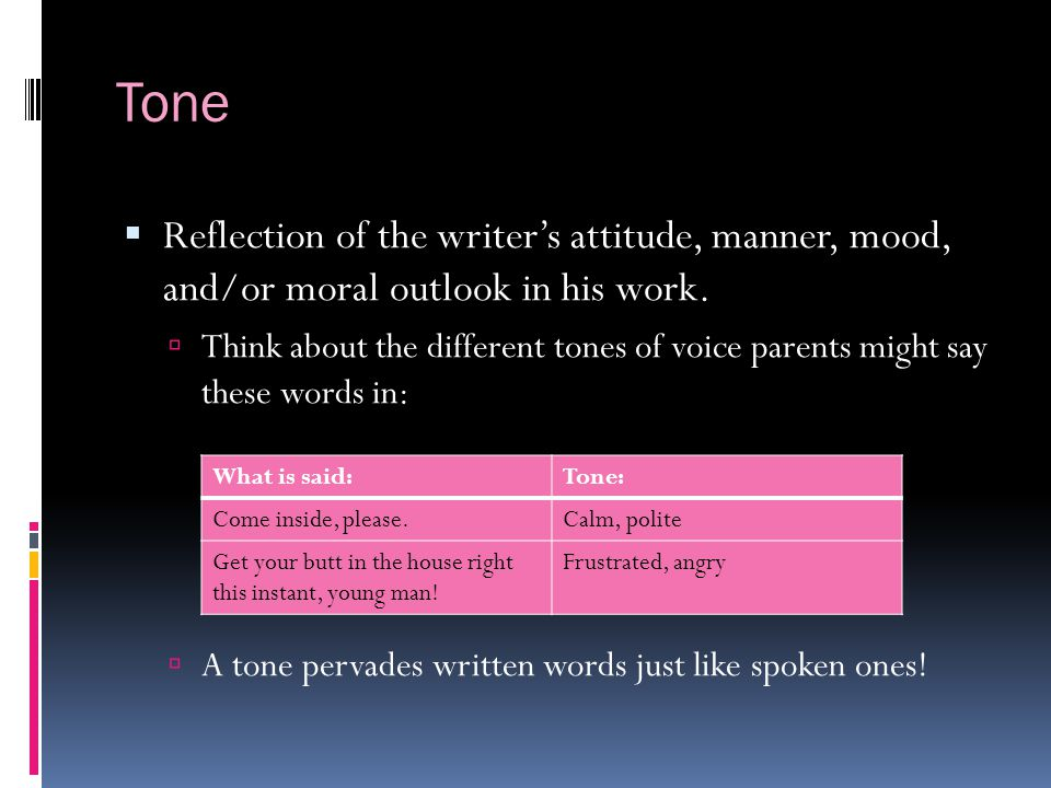 Tone Reflection of the writer's attitude, manner, mood, and/or moral outlook in his work.
