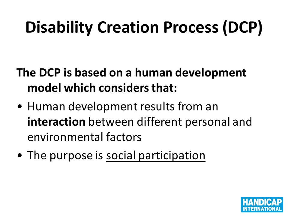 Disability Creation Process (DCP)