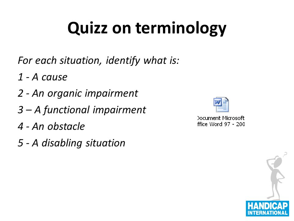 Quizz on terminology