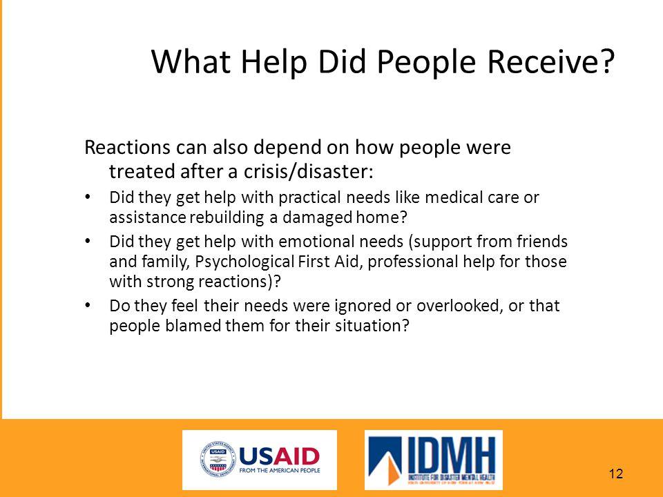 What Help Did People Receive