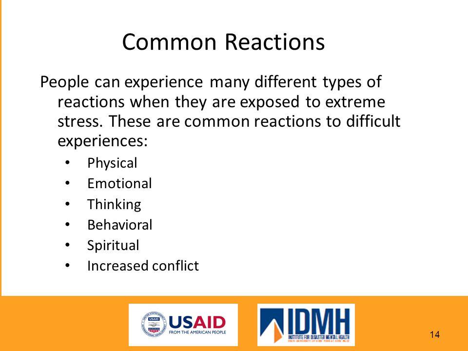 Common Reactions