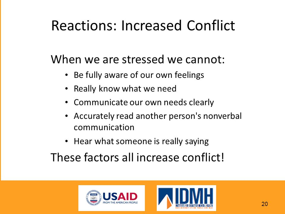 Reactions: Increased Conflict