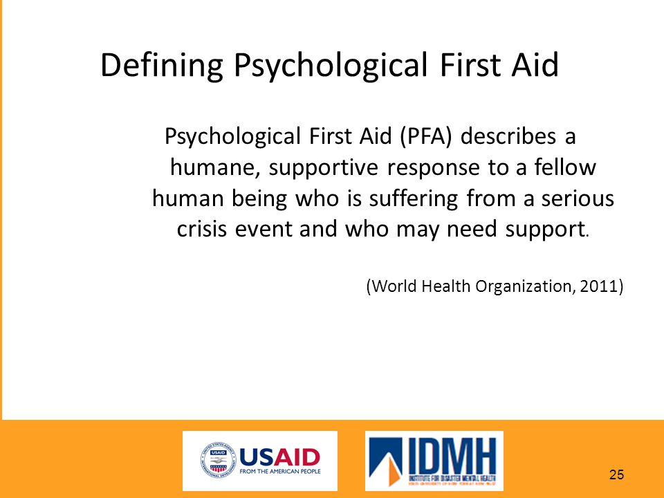 Defining Psychological First Aid