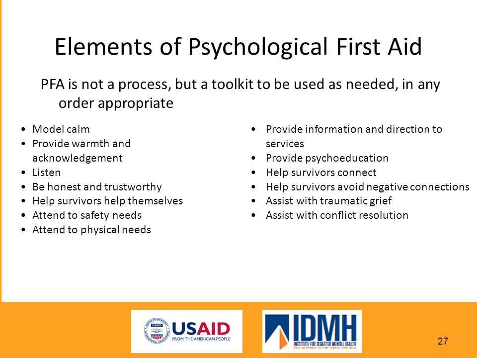Elements of Psychological First Aid