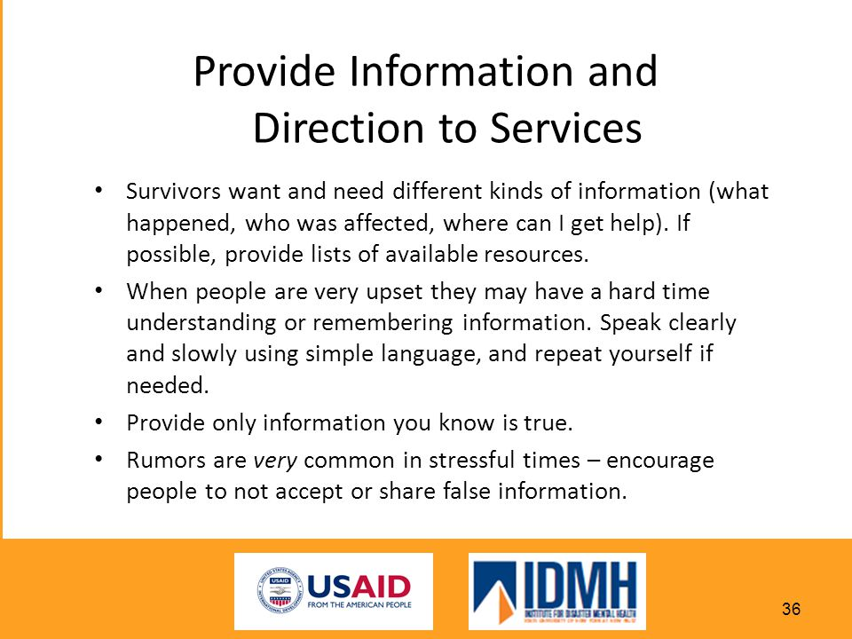 Provide Information and Direction to Services