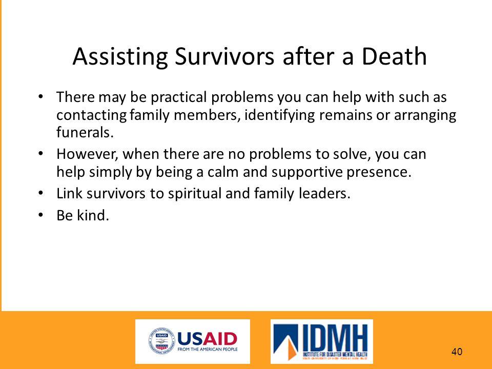 Assisting Survivors after a Death