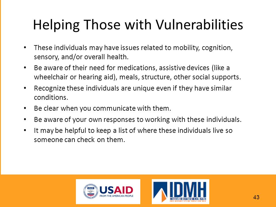 Helping Those with Vulnerabilities
