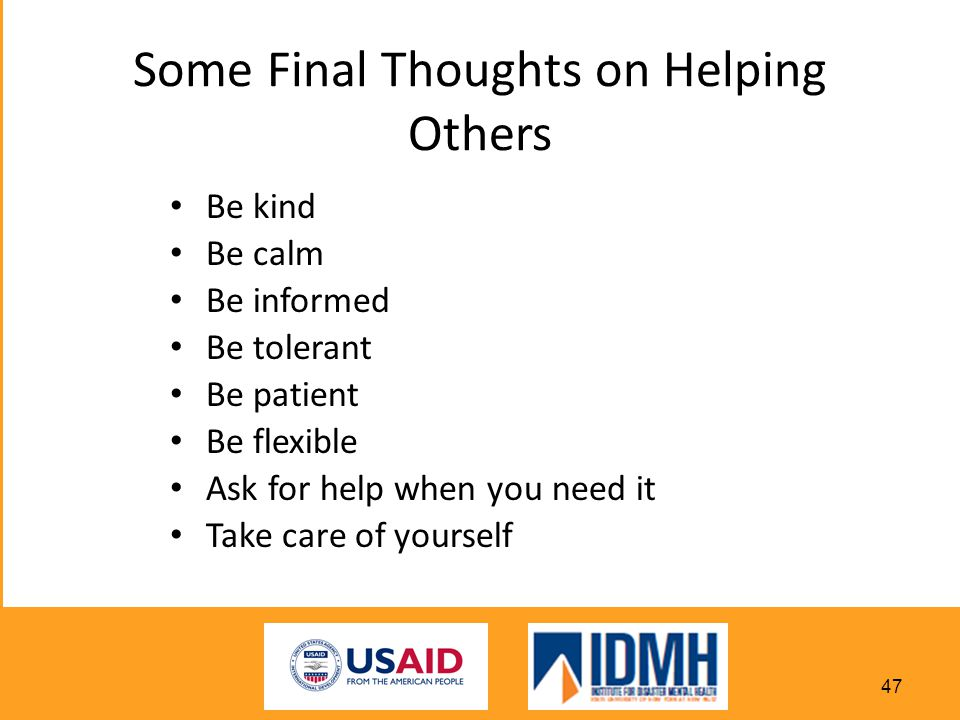 Some Final Thoughts on Helping Others