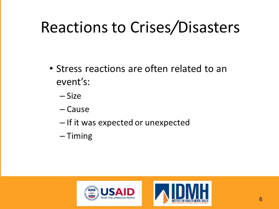 Reactions to Crises/Disasters