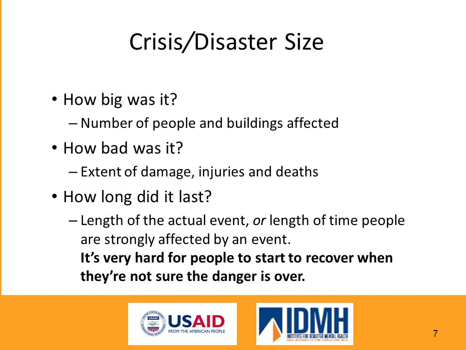 Crisis/Disaster Size How big was it How bad was it