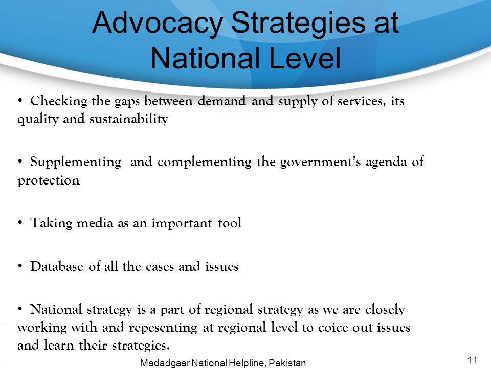 Advocacy Strategies at National Level