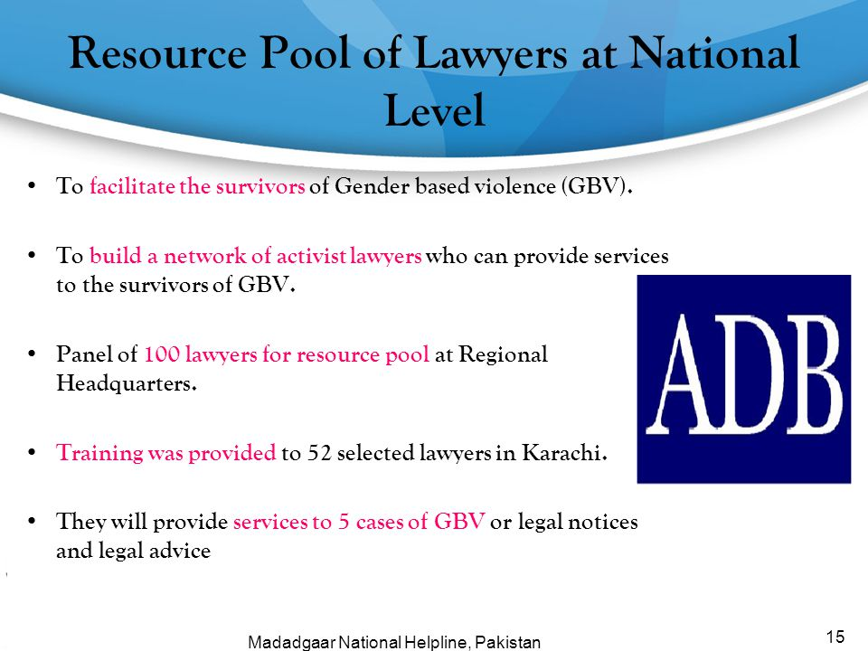 Resource Pool of Lawyers at National Level