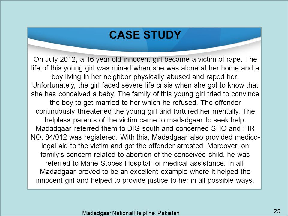 Madadgaar National Helpline, Pakistan