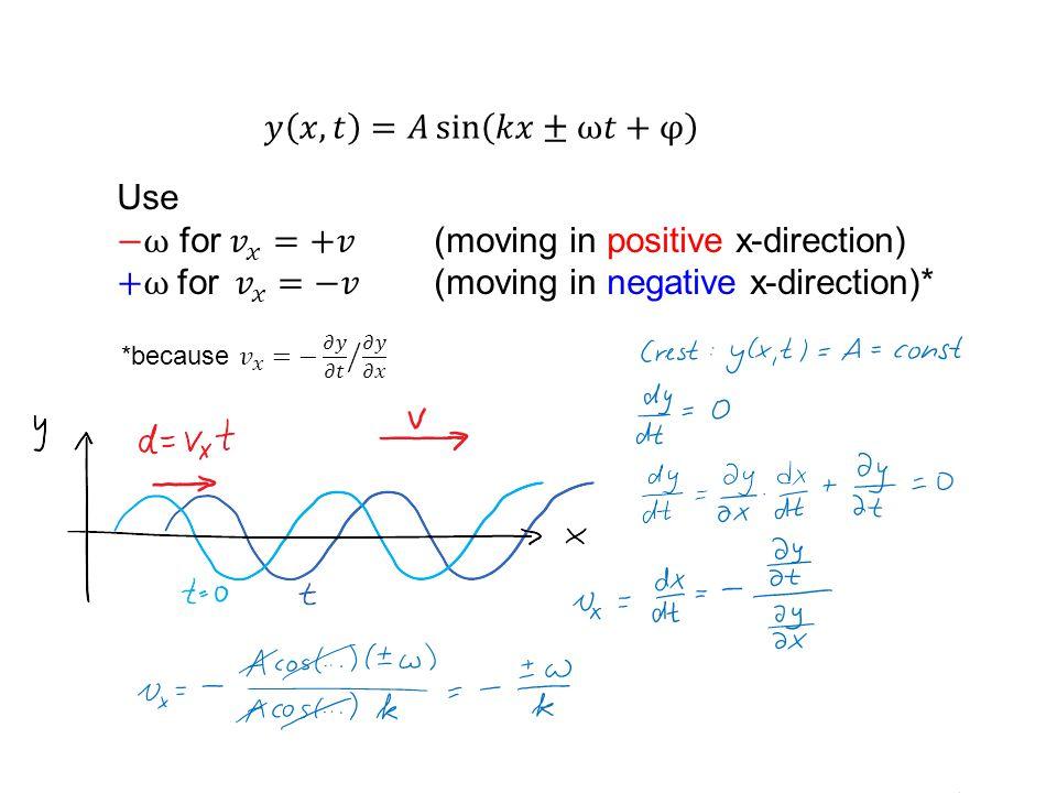 −ω for 𝑣 𝑥 =+𝑣 (moving in positive x-direction)