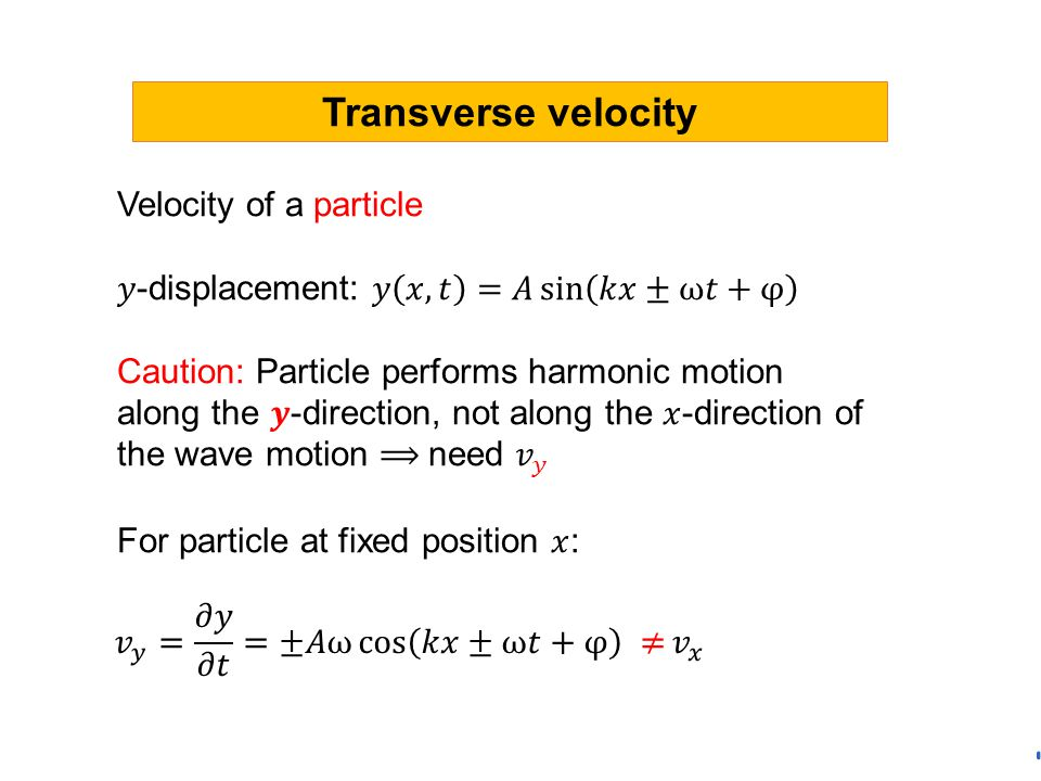 Transverse velocity Velocity of a particle