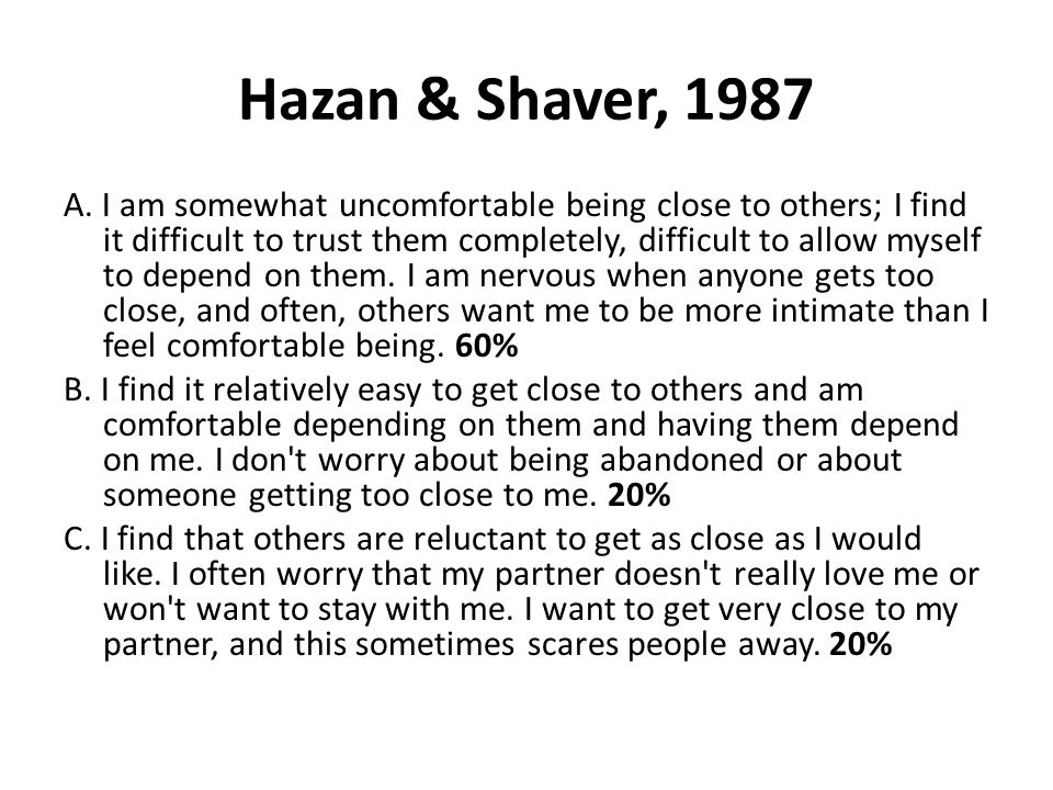hazan and shaver relationship questionnaire
