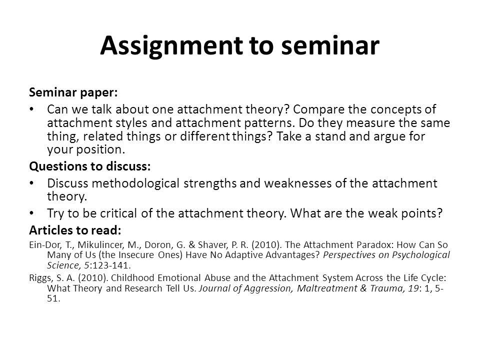 Assignment to seminar Seminar paper: