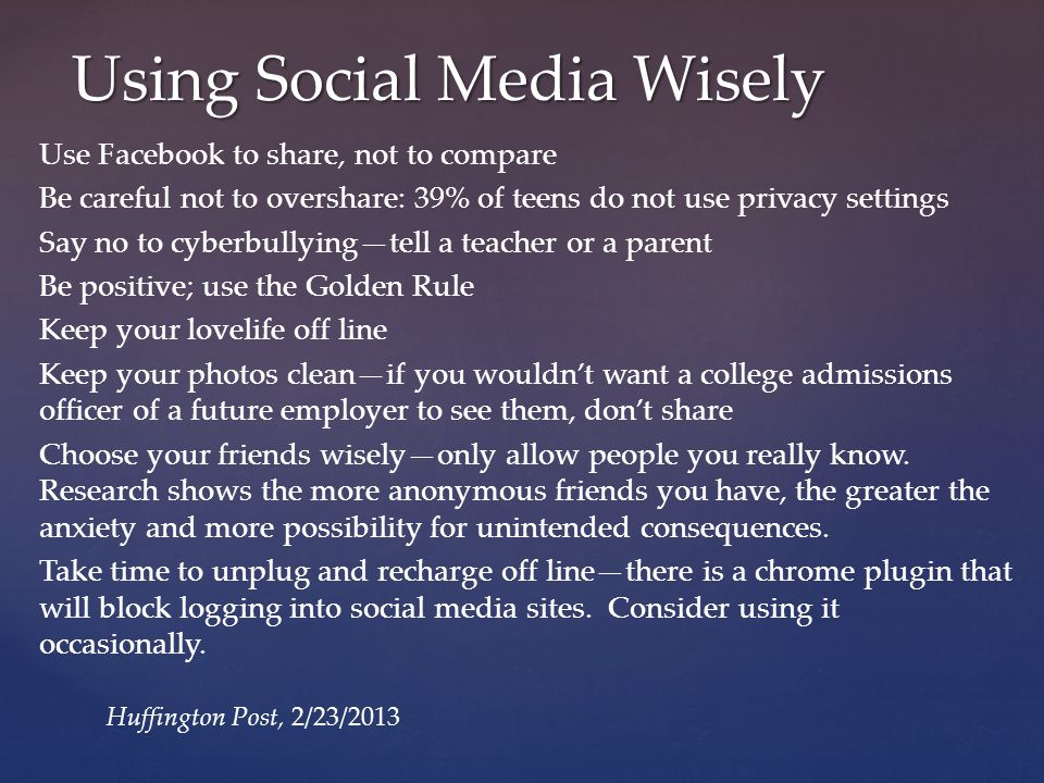 Using Social Media Wisely