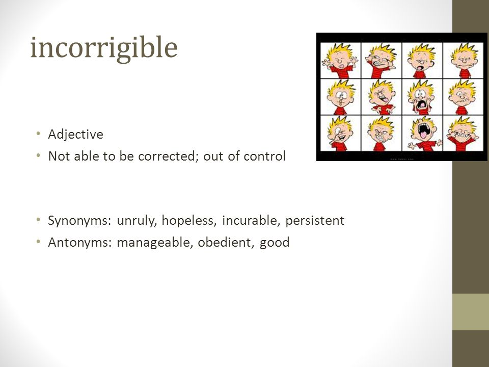 incorrigible Adjective Not able to be corrected; out of control