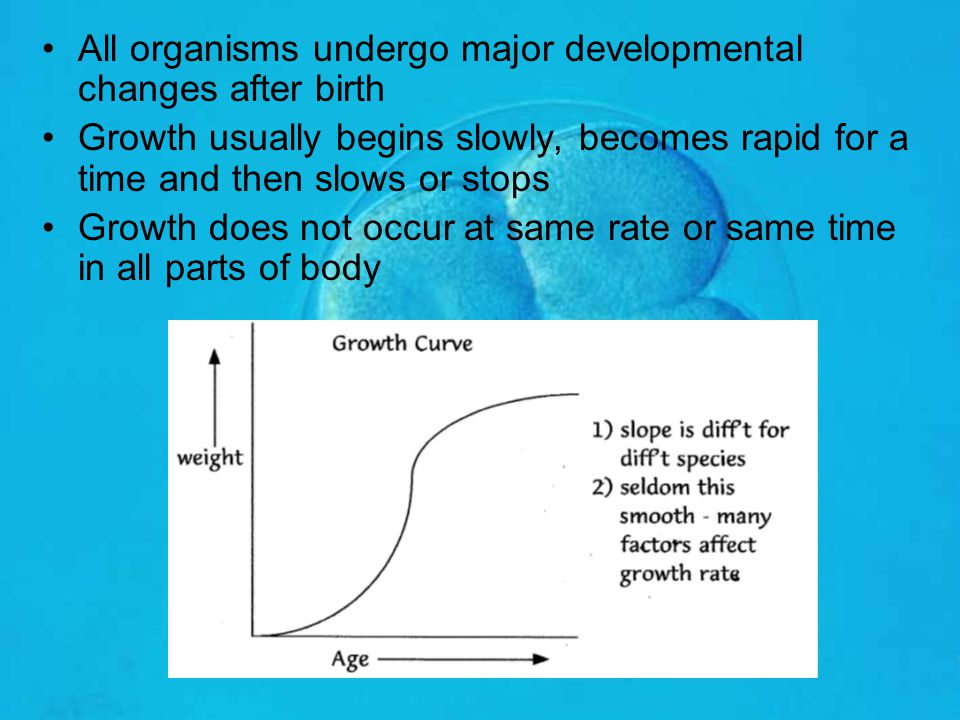 All organisms undergo major developmental changes after birth