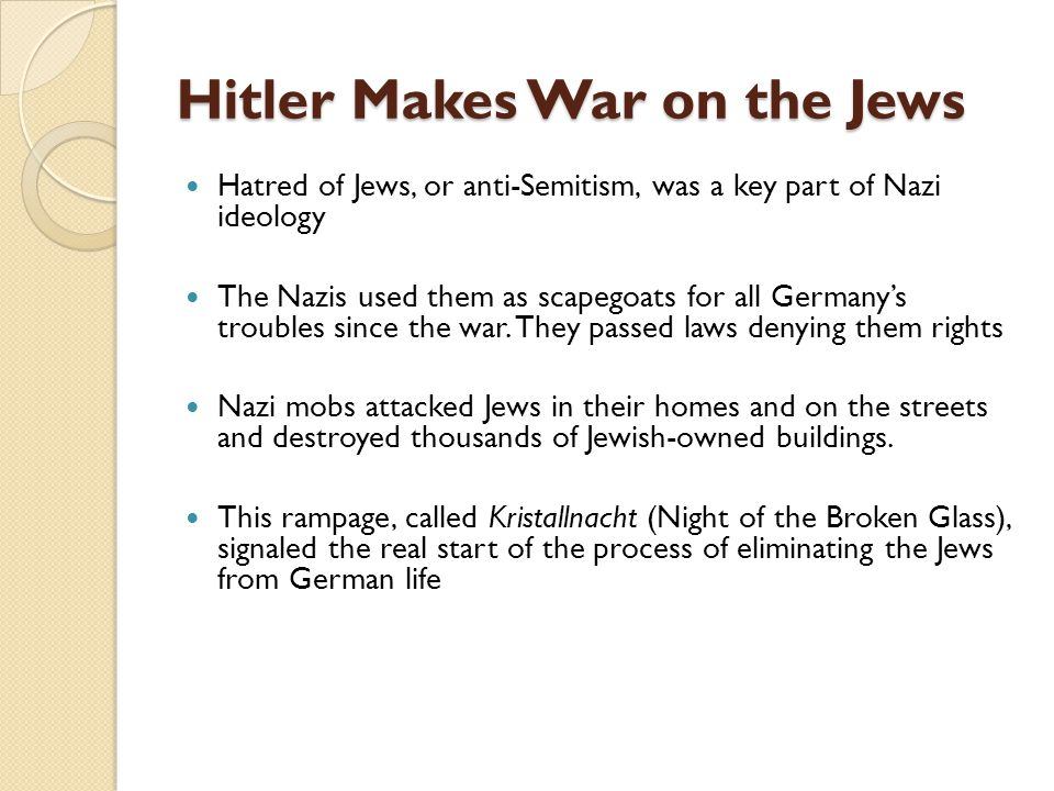 Hitler Makes War on the Jews